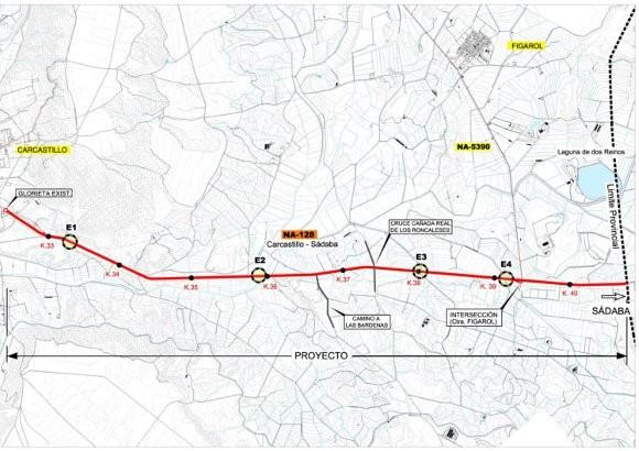Proyecto de Ensanche y mejora de la carretera NA-128. Tramo Carcastillo-Límite de provincia